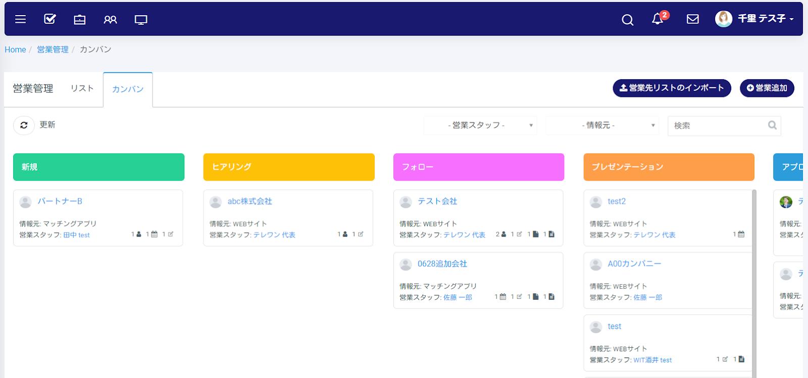 営業管理カンバン画像 テレワークツールのブログ